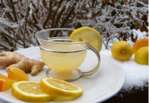 drink of hot lemon and ginger to help with cold and flu