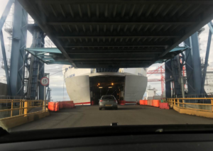 driving onto a ferry