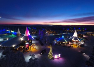 santa claus village at at night